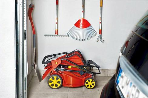 elektrische grasmaaier opbergen