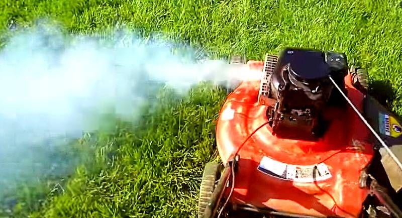 rook uit grasmaaier