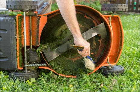 verstopt maaidek grasmaaier